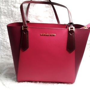 MICHAEL KORS KIMBERLY SMALL BONDED LEATHER TOTE